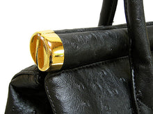 A-SHU DESIGNER STYLE BLACK OSTRICH EFFECT HOLDALL HANDBAG WITH LOCK, KEY AND LONG STRAP - A-SHU.CO.UK
