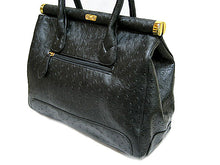 DESIGNER STYLE BLACK OSTRICH EFFECT HOLDALL HANDBAG WITH LOCK, KEY AND LONG STRAP