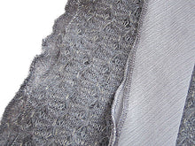 LONG GREY SILK AND WOOL EFFECT SCARF WITH TIE-UP DESIGN