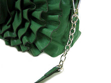 SMALL GREEN LEATHER EFFECT SHOULDER BAG WITH LARGE FLORAL DESIGN