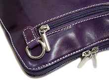 SMALL PURPLE GENUINE LEATHER BAG WITH LONG SHOULDER STRAP