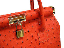 A-SHU DESIGNER STYLE ORANGE GENUINE OSTRICH LEATHER HOLDALL HANDBAG WITH LOCK, KEY AND LONG STRAP - A-SHU.CO.UK