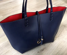 A-SHU LARGE REVERSIBLE TOTE BAG SET WITH CROSSBODY BAG - NAVY BLUE / RED - A-SHU.CO.UK