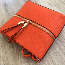 ORANGE MULTI COMPARTMENT CROSSBODY BAG WITH LONG STRAP