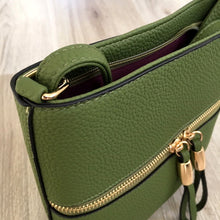 A-SHU GREEN MULTI COMPARTMENT CROSSBODY BAG WITH LONG STRAP - A-SHU.CO.UK