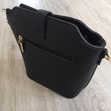 BLACK CROSS BODY BAG WITH LONG OVER SHOULDER STRAP
