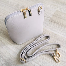 A-SHU SMALL LIGHT GREY PLAIN CROSS BODY BAG WITH LONG OVER SHOULDER STRAP - A-SHU.CO.UK