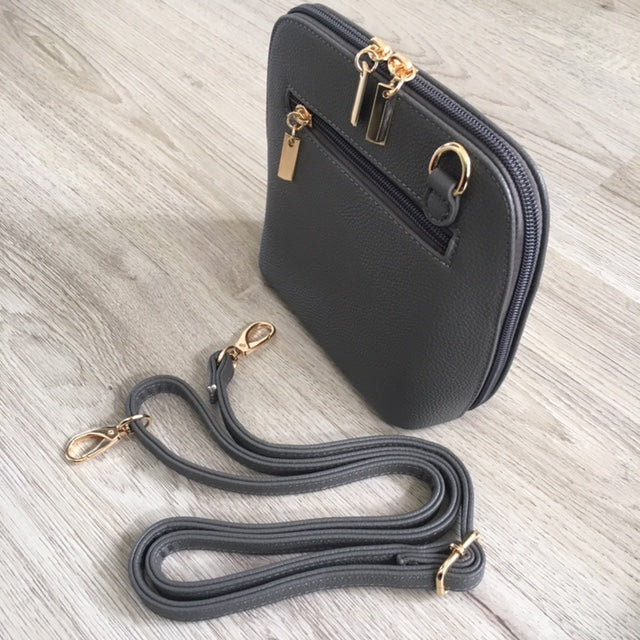 A-SHU SMALL DARK GREY PLAIN CROSS BODY BAG WITH LONG OVER SHOULDER STRAP - A-SHU.CO.UK