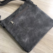 A-SHU LARGE GREY MULTI COMPARTMENT CROSS BODY OVER SHOULDER BAG WITH LONG STRAP - A-SHU.CO.UK