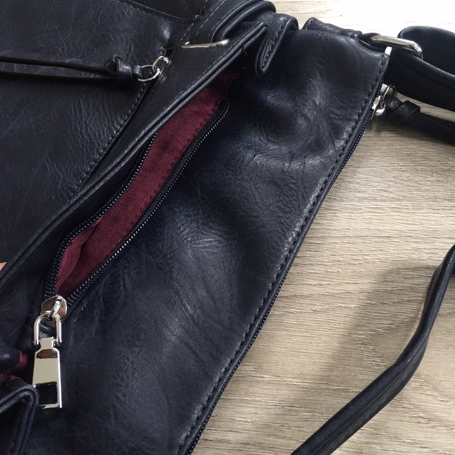 A-SHU LARGE NAVY BLUE MULTI COMPARTMENT CROSS BODY OVER SHOULDER BAG WITH LONG STRAP - A-SHU.CO.UK