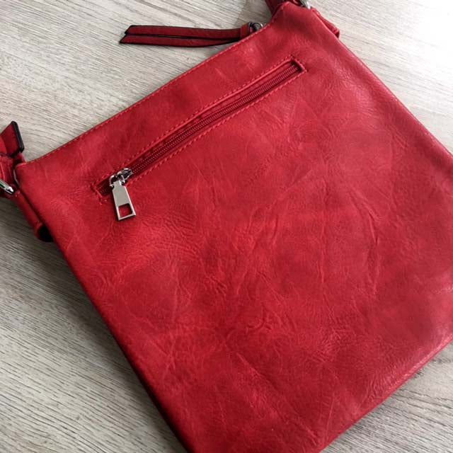 A-SHU LARGE RED MULTI COMPARTMENT CROSS BODY OVER SHOULDER BAG WITH LONG STRAP - A-SHU.CO.UK