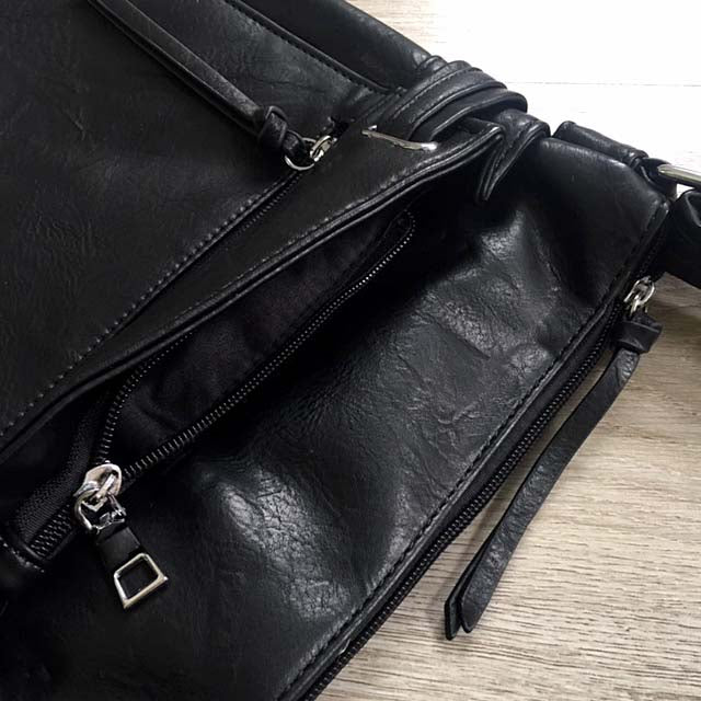 A-SHU LARGE BLACK MULTI COMPARTMENT CROSS BODY OVER SHOULDER BAG WITH LONG STRAP - A-SHU.CO.UK