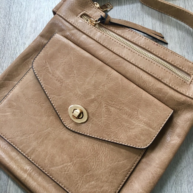A-SHU LARGE TAUPE BEIGE TURN LOCK MULTI COMPARTMENT CROSS BODY SHOULDER BAG WITH LONG STRAP - A-SHU.CO.UK