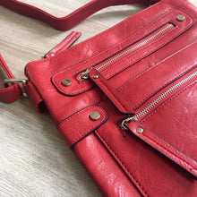 A-SHU LARGE RED MULTI COMPARTMENT CROSSBODY BAG WITH LONG STRAP - A-SHU.CO.UK