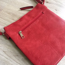 LARGE RED MULTI COMPARTMENT CROSSBODY BAG WITH LONG STRAP