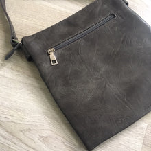 A-SHU LARGE GREY MULTI COMPARTMENT CROSSBODY BAG WITH LONG STRAP - A-SHU.CO.UK