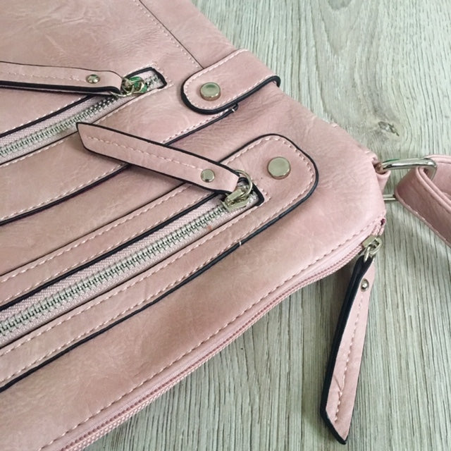 A-SHU LARGE BLUSH PINK MULTI COMPARTMENT CROSSBODY BAG WITH LONG STRAP - A-SHU.CO.UK