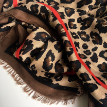 LARGE BROWN STRIPE LEOPARD PRINT SCARF