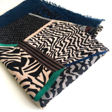 LARGE NAVY BLUE ZEBRA ANIMAL PRINT TRIBAL INSPIRED SHAWL SCARF