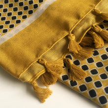 A-SHU LARGE MUSTARD YELLOW DIAMOND PRINT SHAWL SCARF WITH TASSELS - A-SHU.CO.UK