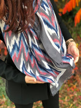 LARGE GREY CONTEMPORARY ZIG ZAG PASHMINA SHAWL SCARF