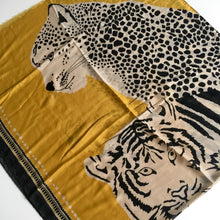 LARGE MUSTARD YELLOW COTTON MIX TIGER AND LEOPARD PRINT SHAWL SCARF