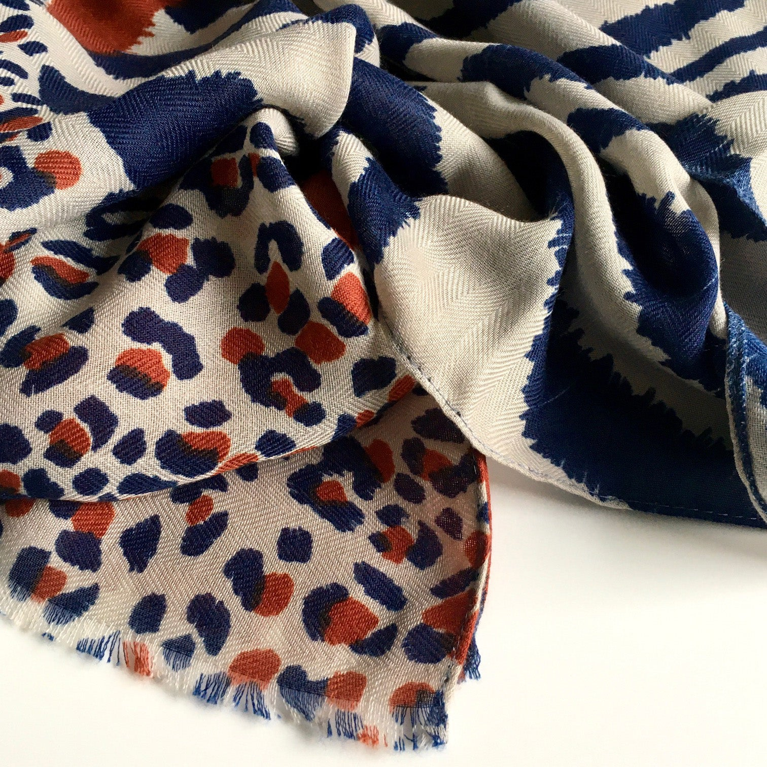 A-SHU LARGE ORANGE RUST COTTON MIX TIGER AND LEOPARD PRINT SHAWL SCARF - A-SHU.CO.UK