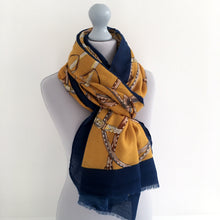 A-SHU LARGE MUSTARD YELLOW CONTEMPORARY BUCKLE PRINT PASHMINA SHAWL SCARF - A-SHU.CO.UK