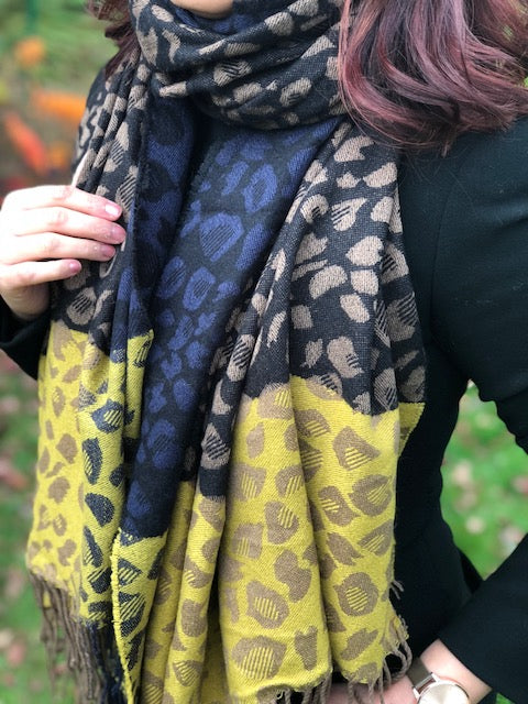 A-SHU LARGE WOOL MIX THICK LEOPARD PRINT SHAWL - MUSTARD - A-SHU.CO.UK