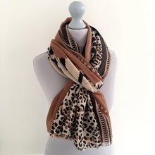 A-SHU LARGE CAMEL COTTON MIX TIGER AND LEOPARD PRINT SHAWL SCARF - A-SHU.CO.UK