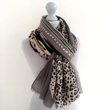 A-SHU LARGE GREY COTTON MIX TIGER AND LEOPARD PRINT SHAWL SCARF - A-SHU.CO.UK