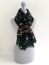 LARGE GREEN COTTON MIX STRIPE LEOPARD PRINT SHAWL SCARF