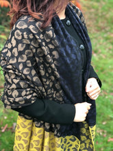LARGE WOOL MIX THICK LEOPARD PRINT SHAWL - MUSTARD