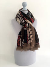 A-SHU LARGE BROWN ZEBRA ANIMAL PRINT TRIBAL INSPIRED SHAWL SCARF - A-SHU.CO.UK