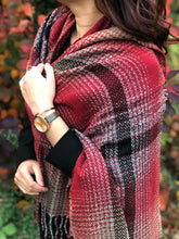 LARGE WOOL MIX THICK CHECKED SHAWL - MAROON