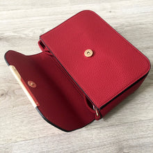 A-SHU DEEP RED MULTI COMPARTMENT CROSS BODY SATCHEL BAG WITH LONG STRAP - A-SHU.CO.UK