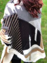 LARGE GREY THICK WOOL MIX SQUARE SHAWL