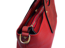 A-SHU RED MULTI-COMPARTMENT HOLDALL HANDBAG WITH LONG STRAP - A-SHU.CO.UK