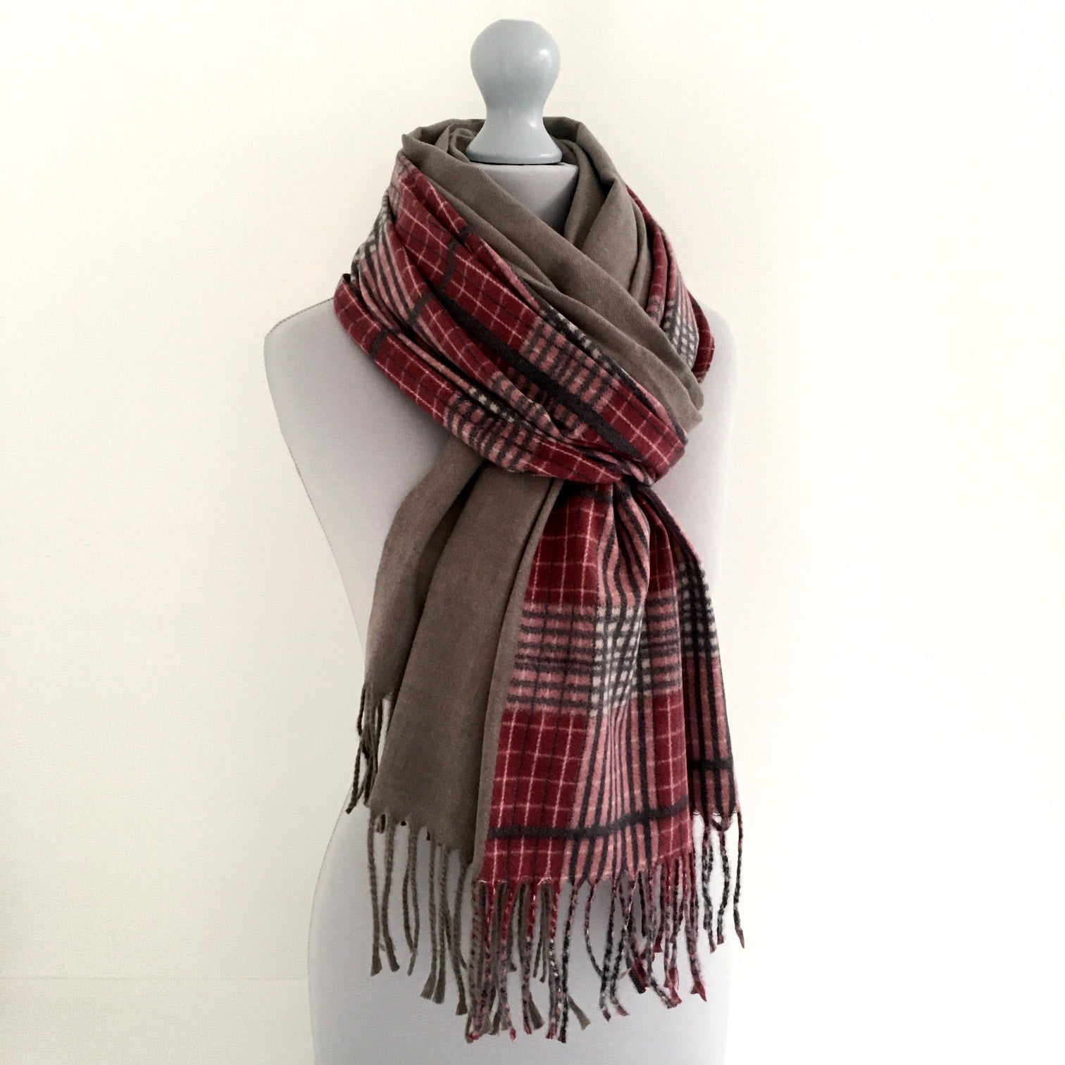 A-SHU GREY LONG OVERSIZED BLOCK PRINT TARTAN CHECKED SHAWL SCARF - A-SHU.CO.UK