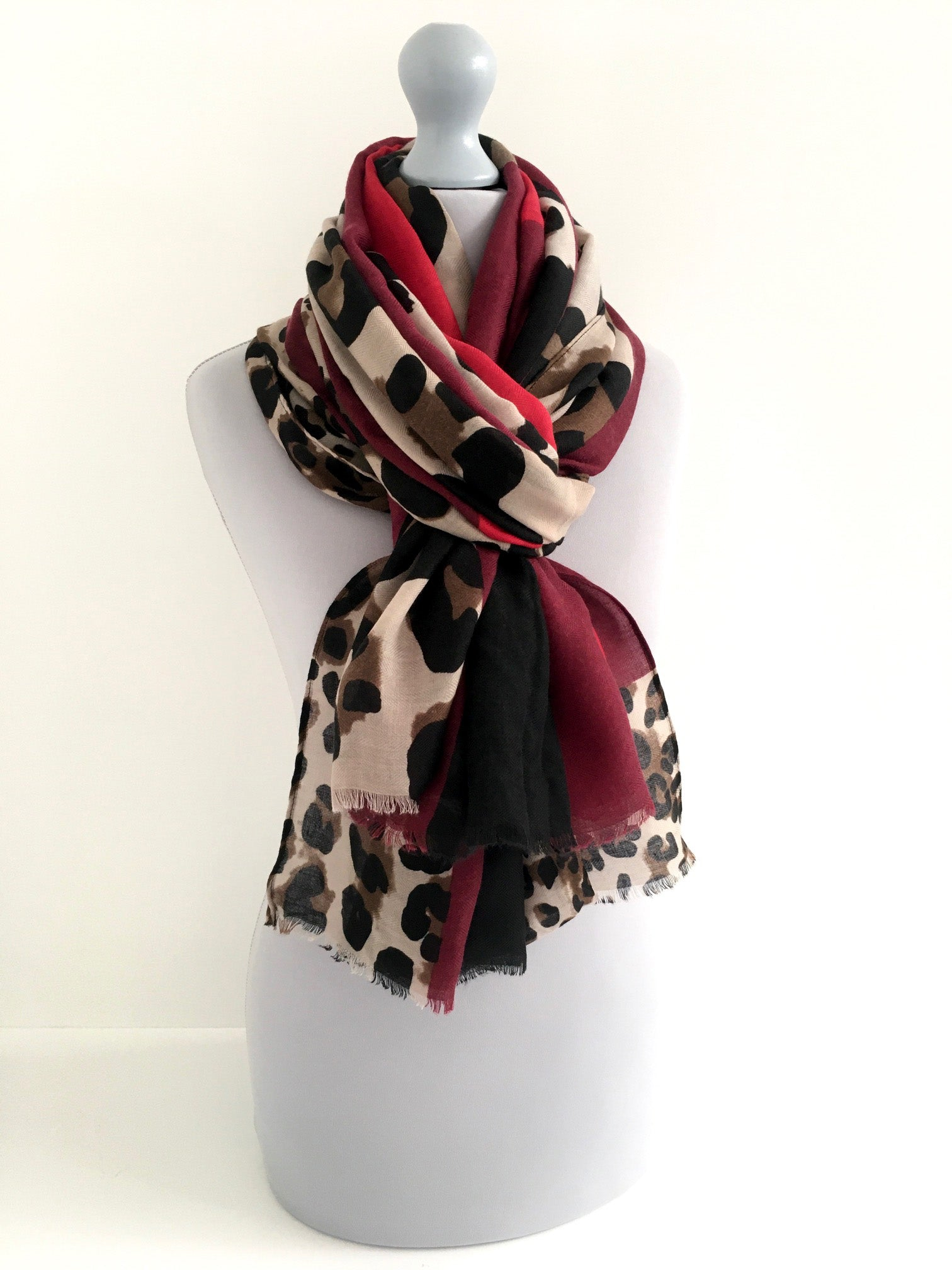 A-SHU LARGE BURGUNDY BLOCK PRINT LEOPARD PRINT SHAWL SCARF - A-SHU.CO.UK