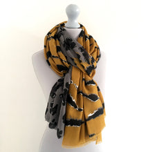 A-SHU LARGE MUSTARD YELLOW ZEBRA AND LEOPARD PRINT SHAWL SCARF - A-SHU.CO.UK