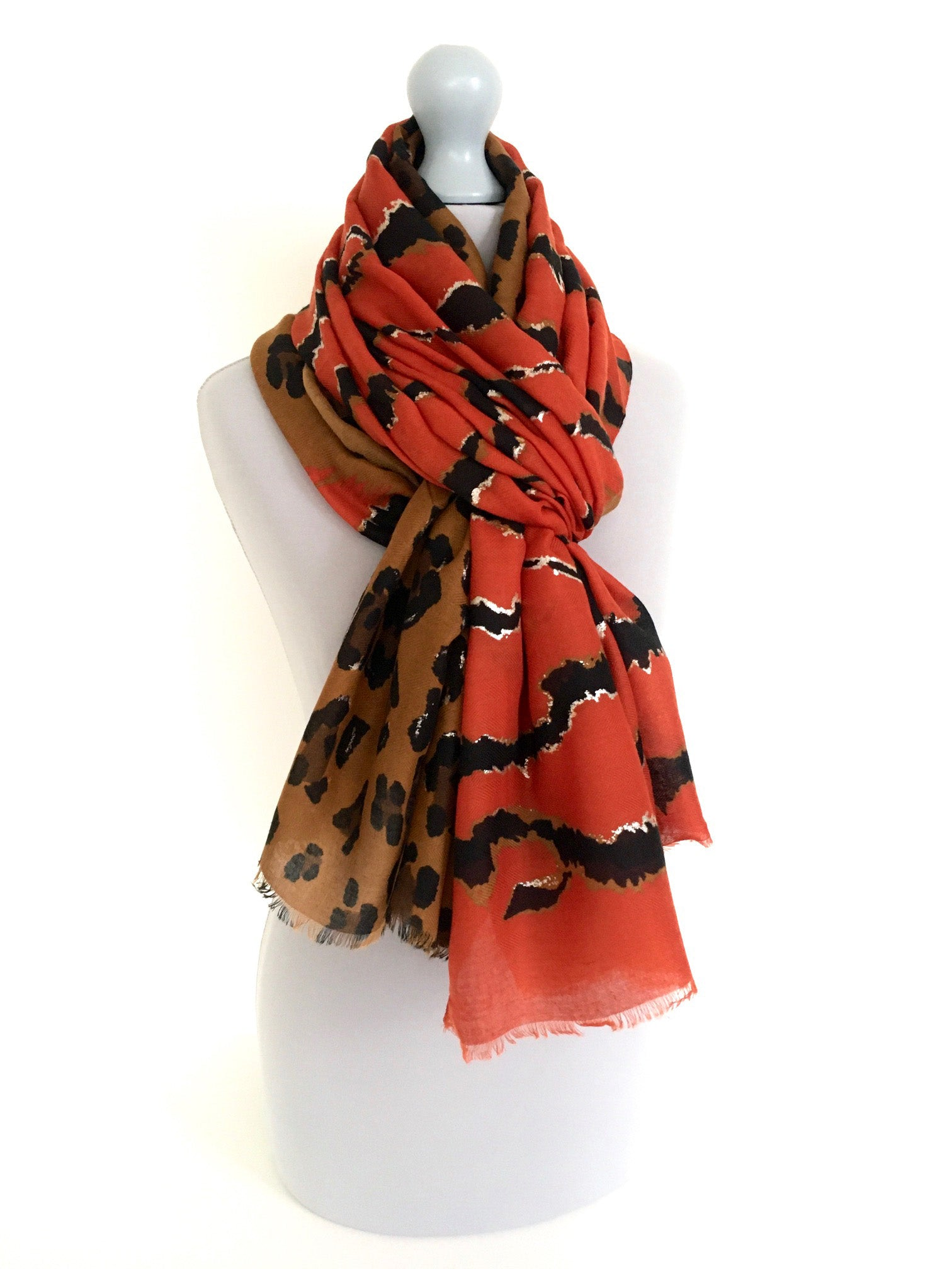 A-SHU LARGE DEEP ORANGE ZEBRA AND LEOPARD PRINT SHAWL SCARF - A-SHU.CO.UK