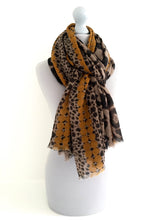A-SHU LARGE MUSTARD YELLOW DOT PRINT TAUPE LEOPARD PRINT SHAWL SCARF - A-SHU.CO.UK