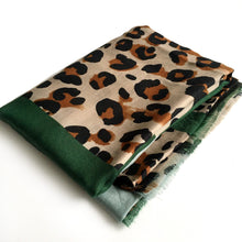 A-SHU LARGE GREEN BLOCK PRINT LEOPARD PRINT SHAWL SCARF - A-SHU.CO.UK