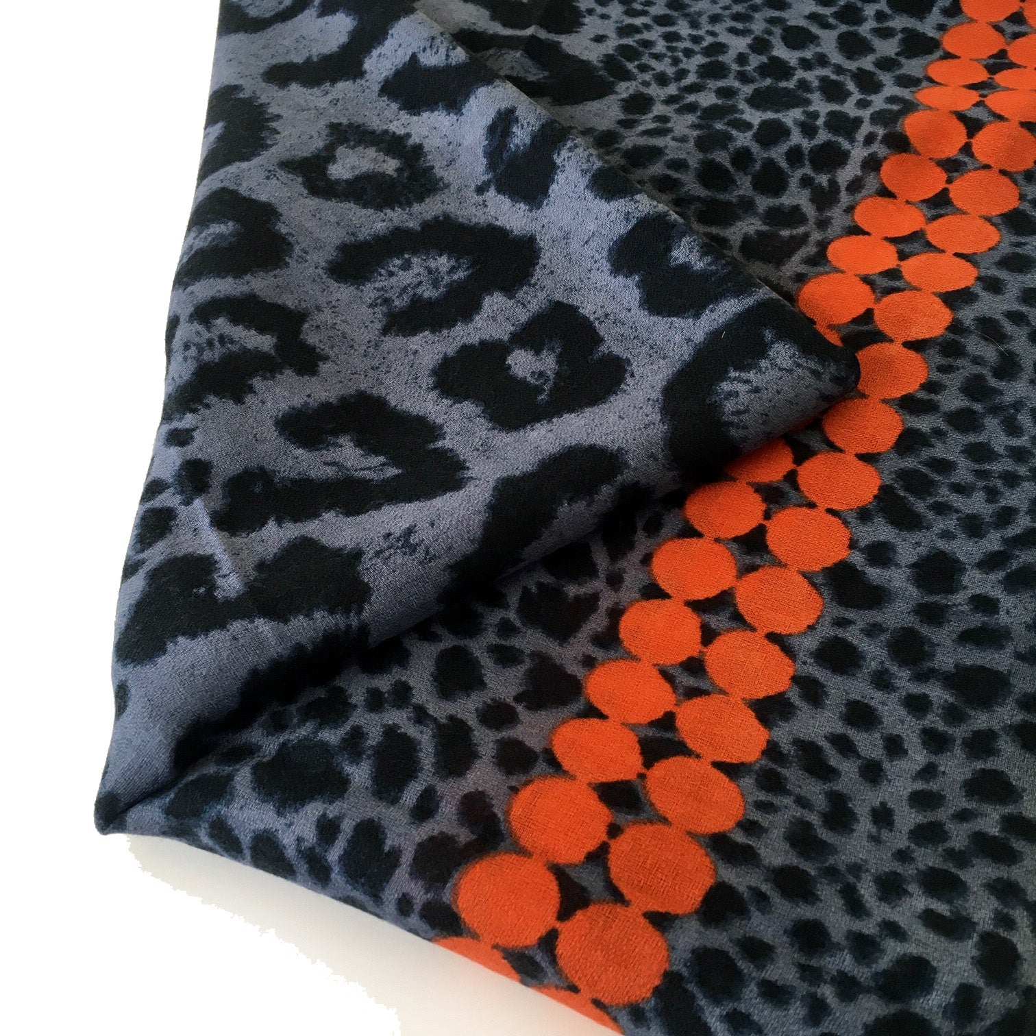 A-SHU LARGE ORANGE DOT PRINT BLUE LEOPARD PRINT SHAWL SCARF - A-SHU.CO.UK