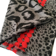 A-SHU LARGE RED DOT PRINT GREY LEOPARD PRINT SHAWL SCARF - A-SHU.CO.UK