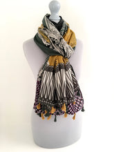 A-SHU LARGE MUSTARD YELLOW MOSAIC PAISLEY PRINT TASSEL SHAWL SCARF - A-SHU.CO.UK