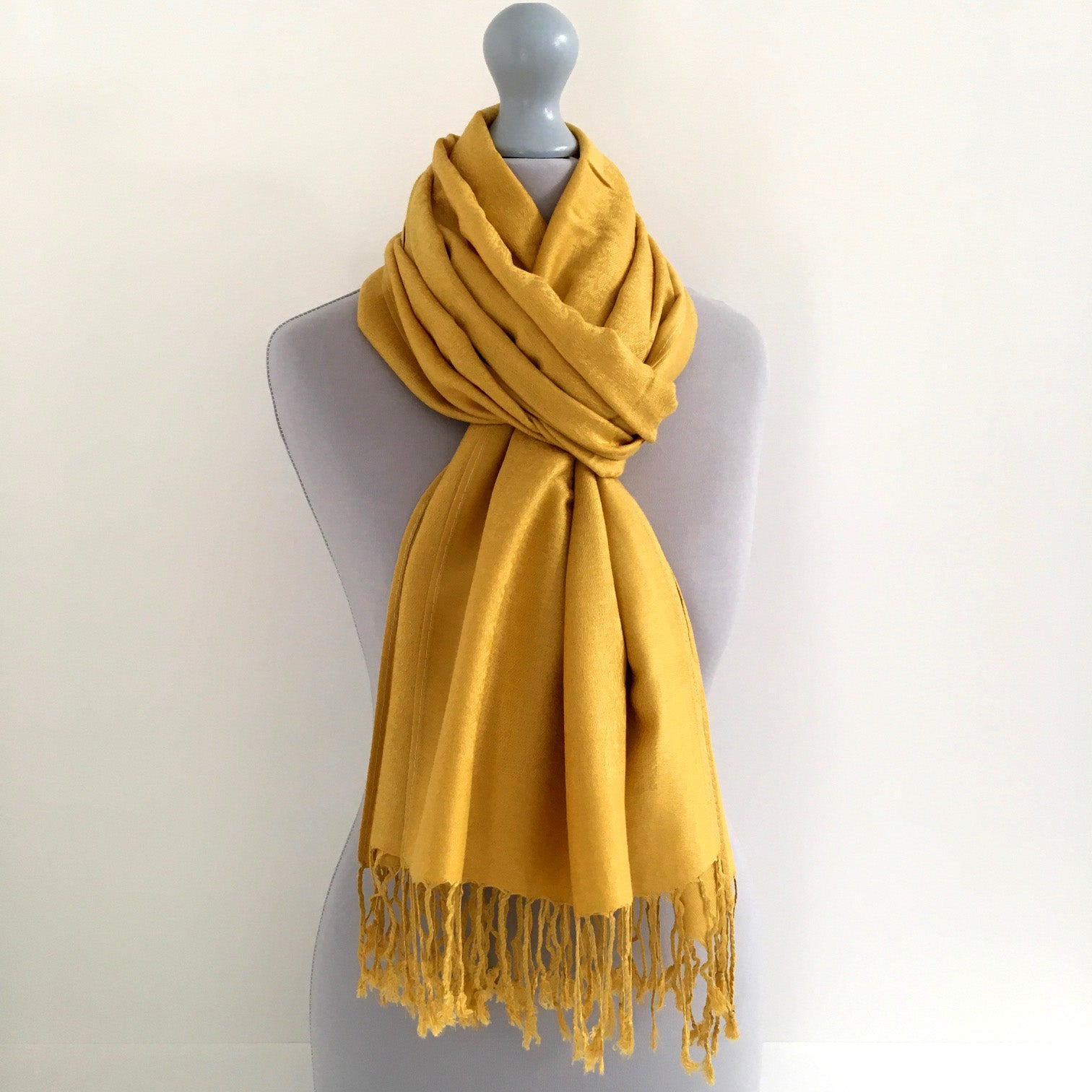 A-SHU MUSTARD YELLOW PAISLEY PRINT REVERSIBLE PASHMINA SHAWL SCARF - A-SHU.CO.UK
