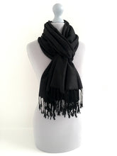 A-SHU BLACK PAISLEY PRINT REVERSIBLE PASHMINA SHAWL SCARF - A-SHU.CO.UK
