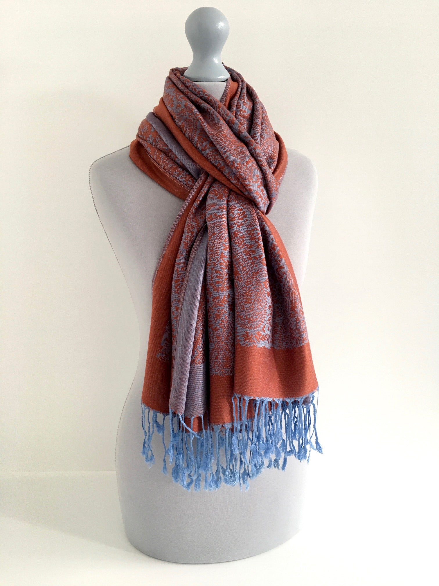A-SHU BLUE ORANGE PAISLEY PRINT REVERSIBLE PASHMINA SHAWL SCARF - A-SHU.CO.UK